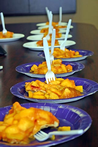 Peach Pie slices on Graduation plates served with Eagle Scout napkins and Wedding forks!