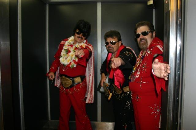 These Husker Elvii greeted us in Matt's Dorm Elevator.