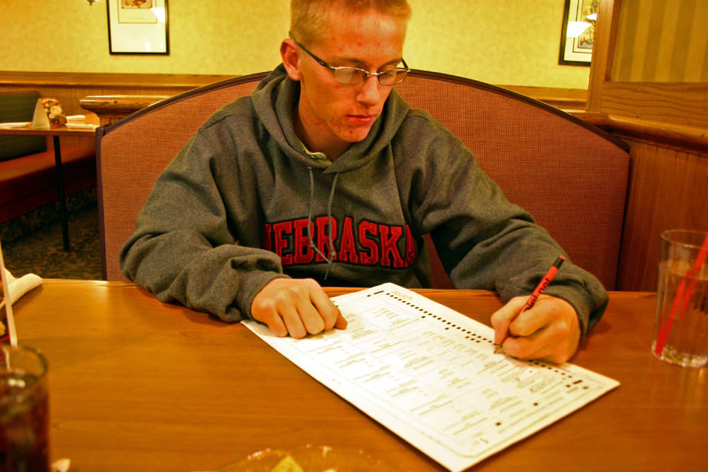 Matt filled out his Absentee Ballot. He voted for the first time in a Perkins!