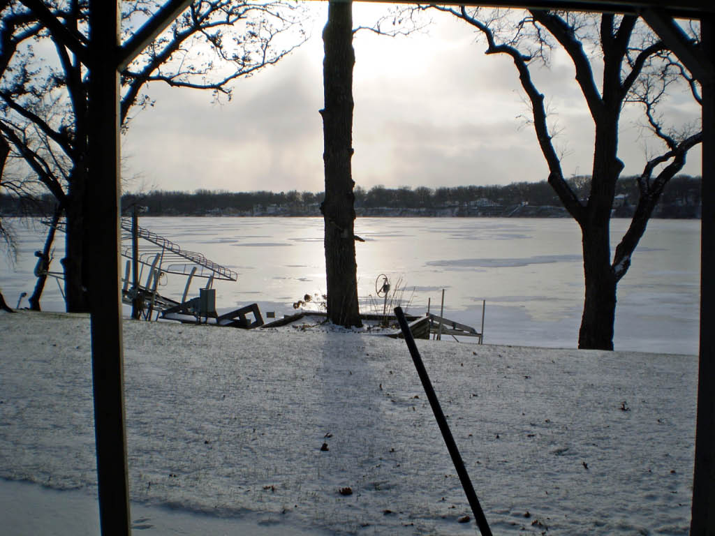 View of Frozen East Lake from our back door.