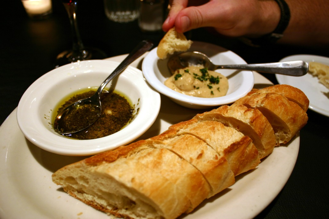 Appetizer. Bread with two dips. I'm going back JUST FOR THE GARLIC SPREAD there on the right. Delicious.
