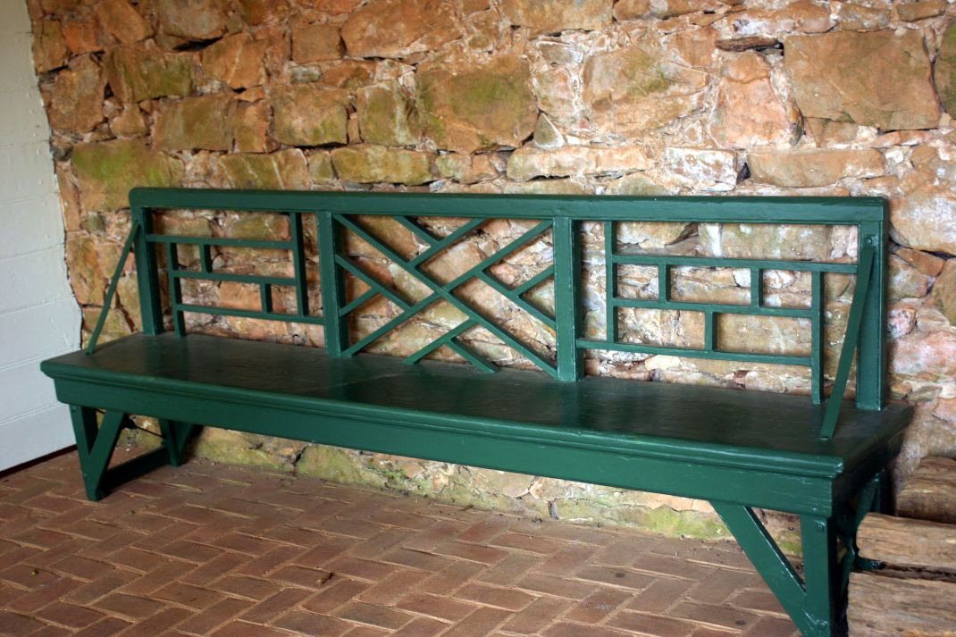 Love the pattern on the green bench at Monticello.