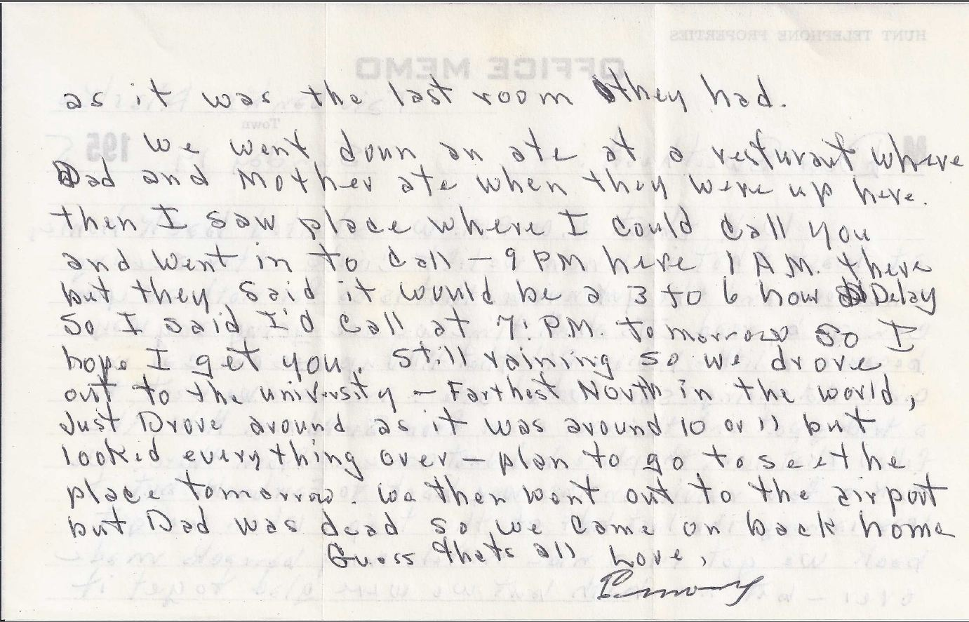 Letter sent from my husband's grandfather to his wife from Alaska in 1955