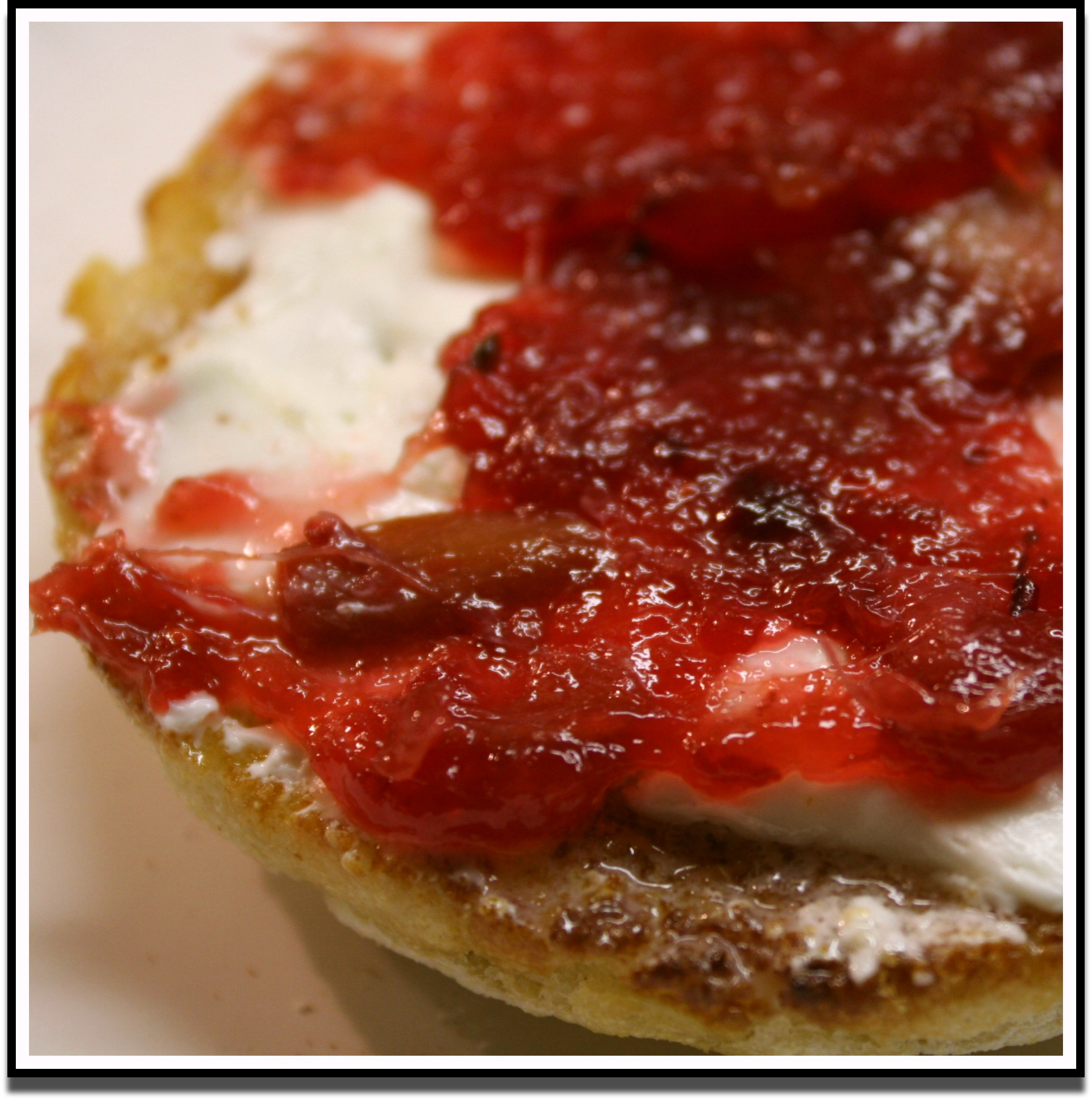 Rhubarb Cran Jam on English Muffin