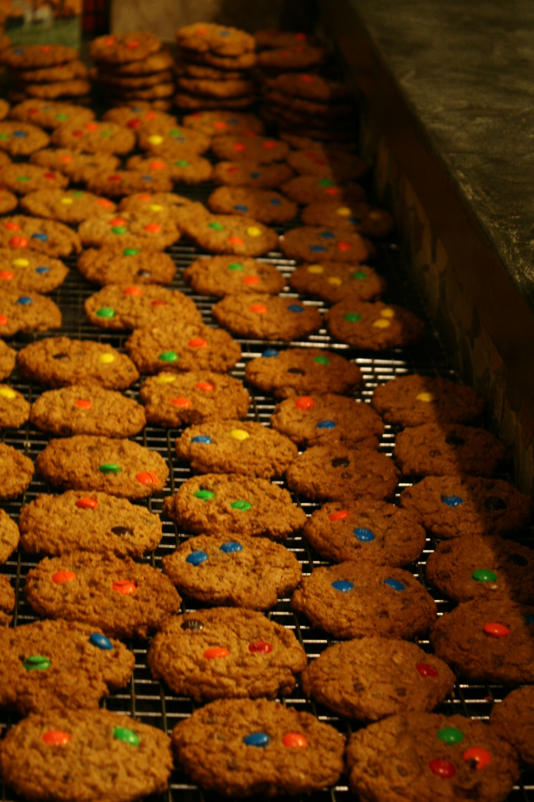Monster Cookies Cooling on a Rack