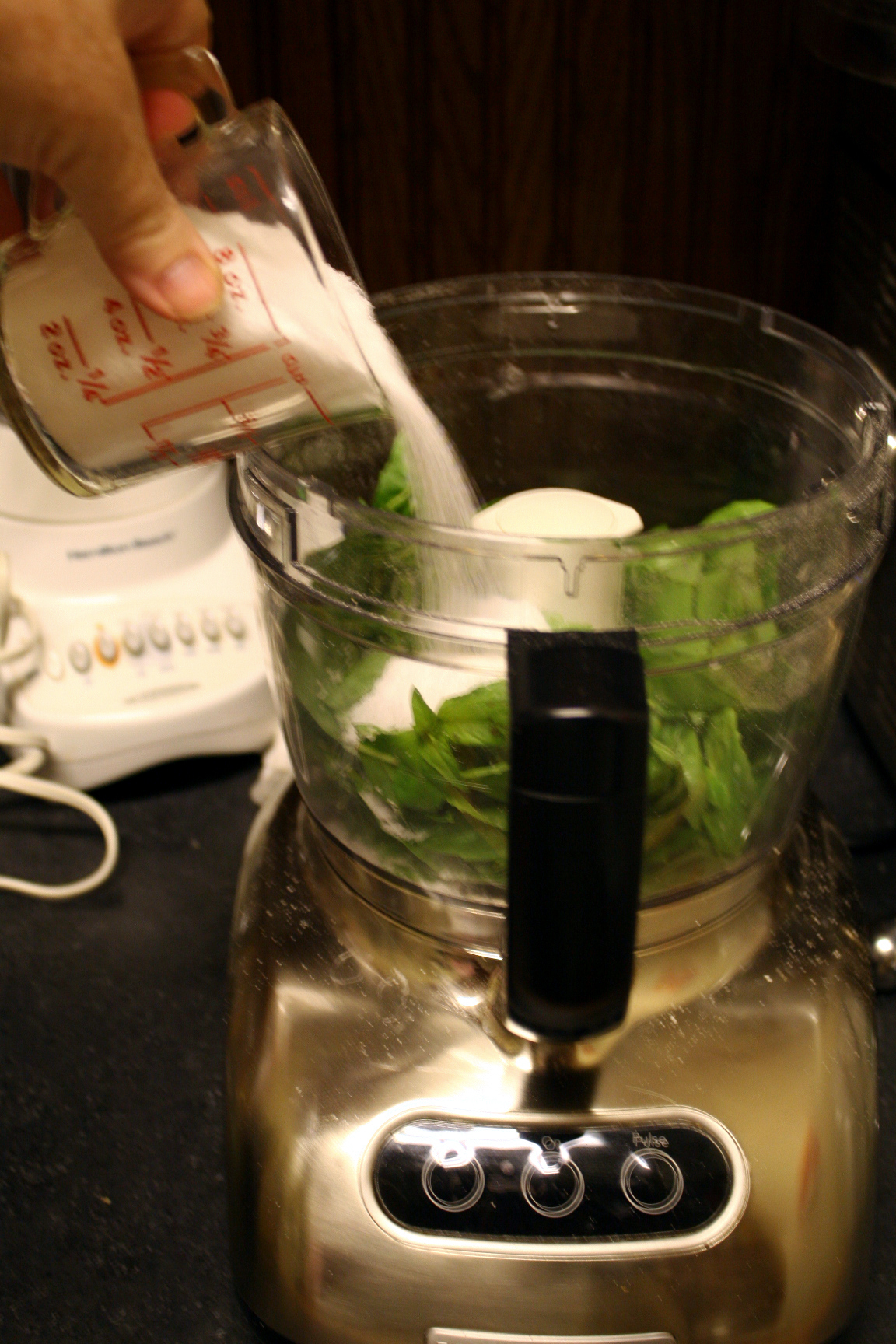 Pouring Salt into Food Processor