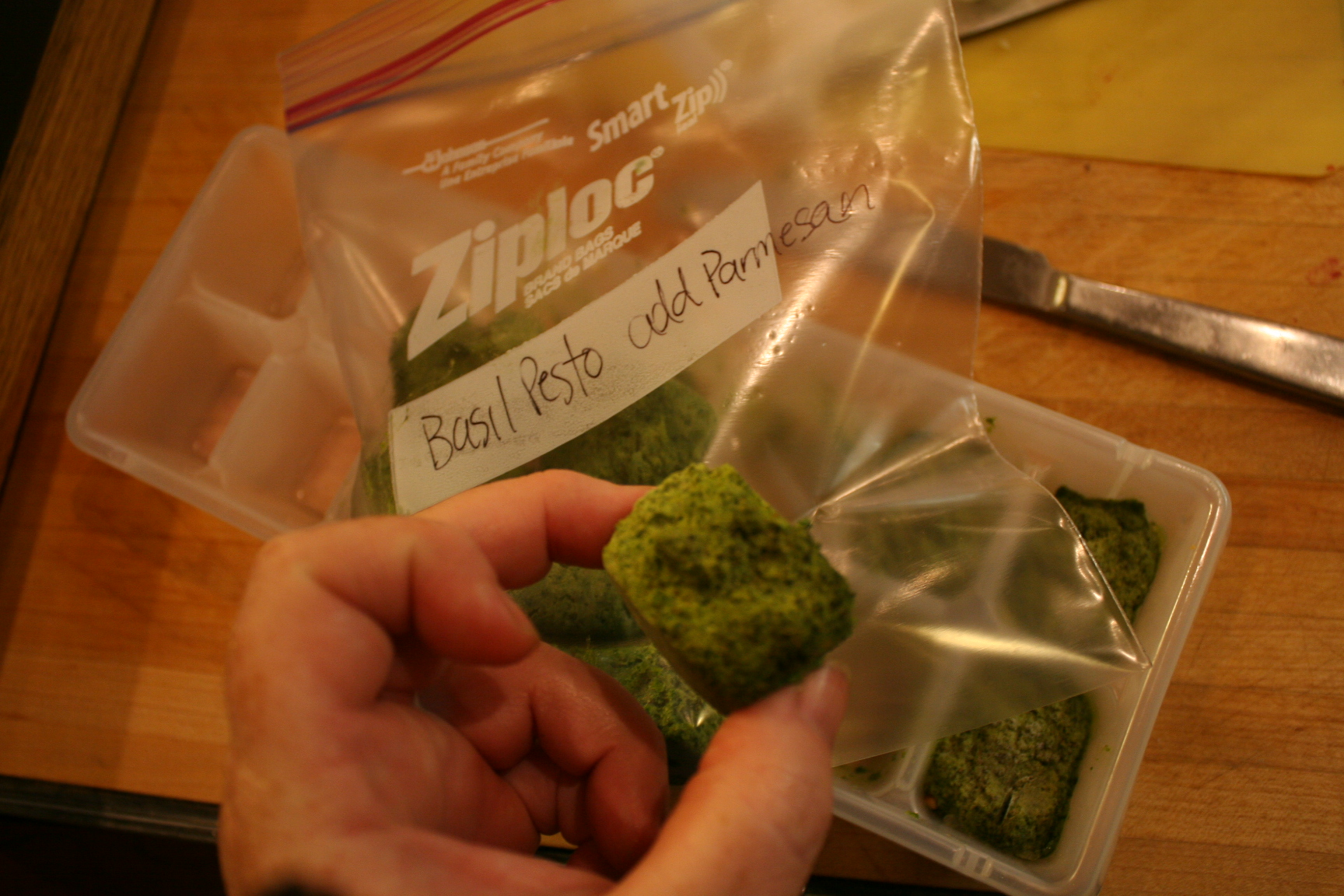 Basil Pesto in Cubes