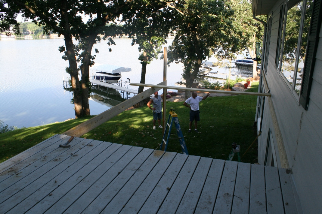 The beginning of the Addition. We are tripling the length of the deck.