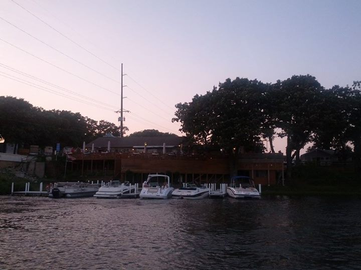 The Wharf Restaurant as seen from our boat.
