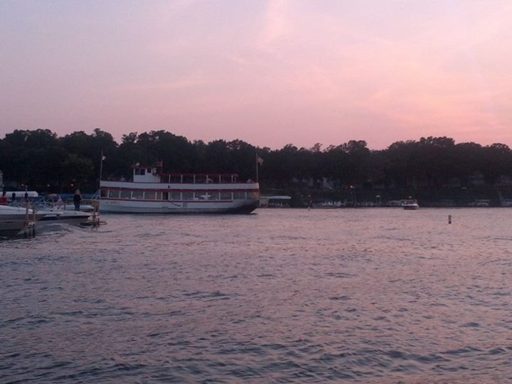 The Queen II pulls out of Arnold's Park on a Sunset Cruise of West Lake